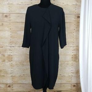 M.M. Lafleur Black Dress With Front Ruffle
